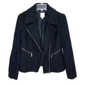 Halogen Black Wool Blend Moto Blazer Jacket S